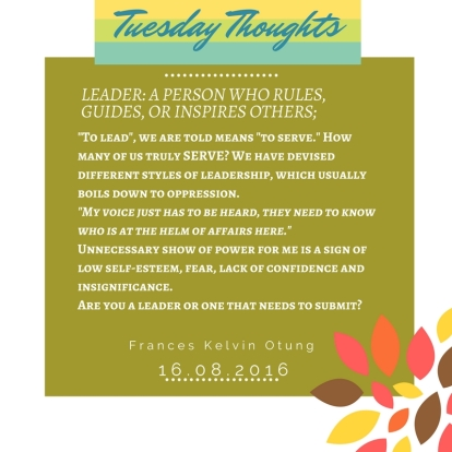Tuesday Thoughts - 160816